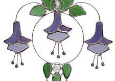 Stained Glass Purple Fuchsia Floral Suncatcher