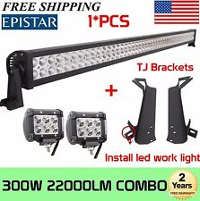 "52""Inch 300W +4"" 18W LED Light Bar+Mount Brackets Fit For Jeep Wrangler TJ 97-06"