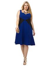 Cherry Velvet Gwynnie Bee Viola Dress Royal & Black Rockabilly Plus Size 2X