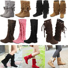 Fashion Womens Lady Mid Calf Suede Tassels Winter Warm Boots Flat Shoes 5 Colors