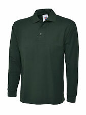 5 x Uneek Long Sleeved Polo Shirt Classic Fit Tee Plain Style Work Top (UC113)