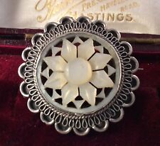 Vintage Antique Jewellery Silver And Mother Of Pearl Star Brooch Pendant