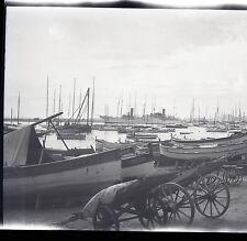 Reportage photo CANNES septembre 1930 4 négatifs vue générale bateau plage rue