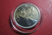 "CANADA  1968  ""PROOF""  25 CENTS SILVER COIN, Uncirculated in Dispaly Capsule"