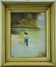 "Nice oil on board ""Boy Going Over the River"" 9 1/2""x 7 3/4"". (BI#MK/0317.TMP)"