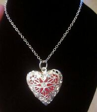 Essential Oil Diffuser Necklace Heart  Silver Plated Tone 68cm Necklace New