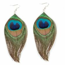 1 Pair Peacock Multicolor Feather Fashion Dangle Earrings ED