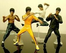 A Set of 4 Bruce Lee Figure Statue King of Kung Fu Toy Jeet Kune Do Collectibles