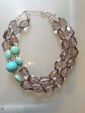 NWOT Faux Smoky Quartz Bead And Turquoise Statement  Necklace Anthropologie