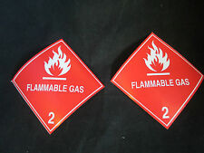 """2 Labels FLAMMABLE GAS 2 Red/White 4"""" x 4"""" Self Adhesive Paper Sticker NEW"""