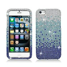 For iPhone 5 5S Crystal Diamond BLING Hard Case Phone Cover Gradient Blue