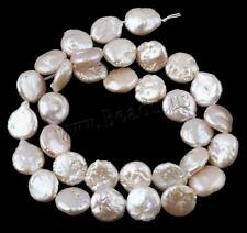 Pink Coin Natural Cultured Freshwater Pearl Loose DIY Beads 10-11mm 14.5""