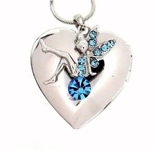 Tinkerbell Fairy Austrian Crystal Heart Locket Pendant Silver .925 Necklace New