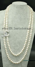 """2rows freshwater pearl  necklace wholesale nature 8-9mm 25-28"""" near round gift"""