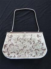 """VINTAGE 1950'S FLORAL DESIGN CLEAR AND GREY GLASS BEAD EVENING PURSE 10"""" X 6"""""""