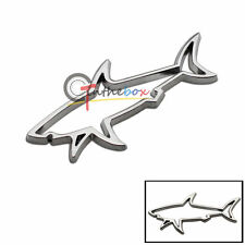 (1) 3D Silver Shark Hollow Metal Badge Sticker Emblem Auto Car Fender Boot Trunk