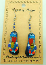 Earring Spirit of Nature  small flip flops beads heart happy face peace sign