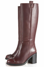 Topshop BALANCE high leg stud boots UK 6 in Oxblood ( New with box )