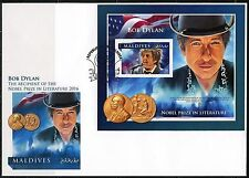 MALDIVES ISLANDS 2016 BOB DYLAN NOBEL LITERATURE WINNER  S/S  FIRST DAY COVER