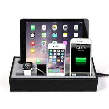 PU Leather Charging Dock Station For Apple Watch iPhone iPad Stand Cradle Holder