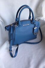 NWT Michael Kors Riley Small Leather Satchel Handbag Steel Blue 30S5SRLS1L $298