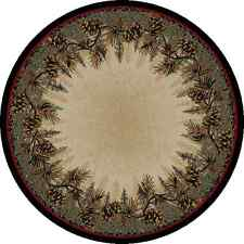 """5' Round (5'3"""") Lodge Cabin Pinecone Green Area Rug  **FREE SHIPPING**"""