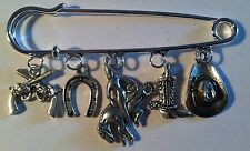 "Kilt Pin Broach Purse Visor 5 Silver Charms ""I Wanna Be A Cowboy"" Handmade Boot"