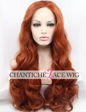 Lace Front Wigs Copper Red Long Wavy Synthetic Hair Glueless Wig Heat Resistant