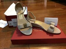 NIB Salvatore Ferragamo Margot New Bisque Leather Wedge Sandal Sz 6.5