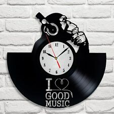 I love good music design vinyl record wall clock home decor art shop playroom
