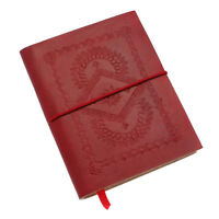 Fair Trade Handmade Medium Red Embossed Leather Notebook 2nd Quality