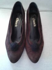 Lady's Dark Brown Suede Shoes with Black design Seize 37