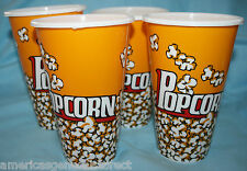 "set 4 POPCORN CUPS pop corn RED WHITE 7"" x 4.5"" plastic serving container bowl"