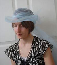 Blue Hat Wedding Summer Sheer Veil Netting Pearls 80s Vintage
