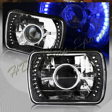 """7""""x6"""" H6054 Sealed Beam Replacement Blue LED Black Housing Projector Headlights"""