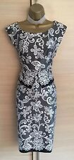 Exquisite Karen Millen Black White Silk Lace Print Peplum Wiggle Dress UK10