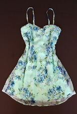 Abercrombie A&F Soft Floral Ruffle Dress S Green Blue $68 NWT