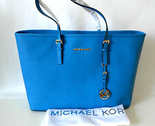 New Genuine Michael Kors Saffiano Leather Large Jet Set Travel tote Bag Blue