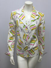 CHANEL GRAFFITI SHIRT TOP CC LOGO PASTEL TONES PINK YELLOW GREEN WHITE 04C 38