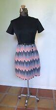 VINTAGE 1970s MOD POLY KNIT zig zag print SCOOTER DRESS day dress S