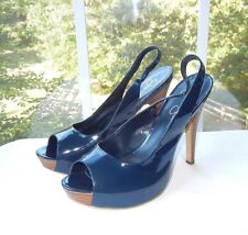 JESSICA SIMPSON PUMPS OPEN TOE SLINGBACK HIDDEN PLATFORM NAVY PATENT SHOES 40 10