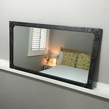 Medium Mirror Metal artisan urban vintage industrial Pewter colour finish
