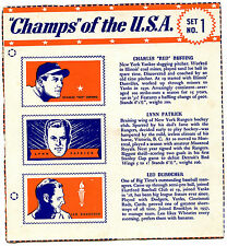 "1940 WHEATIES "" CHAMPS OF THE USA "" Cereal Box Panel Set # 1 RUFFING, PATRICK"