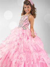 Girl kids Pageant Bridesmaid Prom Party Princess Ball Gown Formal Dresses Size 8