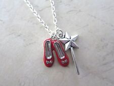 "Silver Plated Wizard of Oz Ruby Slippers & Wand 18"" Necklace New in Gift Bag"
