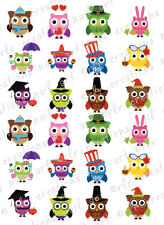 24 Nail Transfer Decals * HOLIDAY OWL ASST  Water Slide Nail Art Decals  CUTE