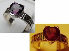purple raspberry alexandrite antique 925 sterling silver heart ring size 5 USA