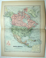 Original 1894 Map of North America by  W & A.K. Johnston