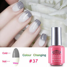 Perfect Summer Grey Change to White Color-Chaing Gel Polish Nail Varnish UV #037
