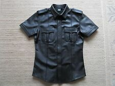 Mister B black leather police shirt , size Large  NEW! Gay RoB